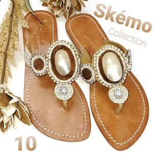 Skemo Collection Jewelled Thong Sandals 10